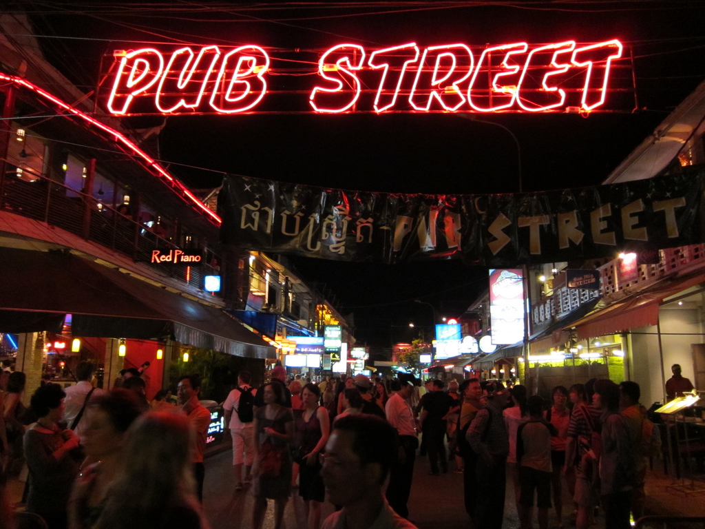 One of the liveliest places in Cambodia is Pub Street.